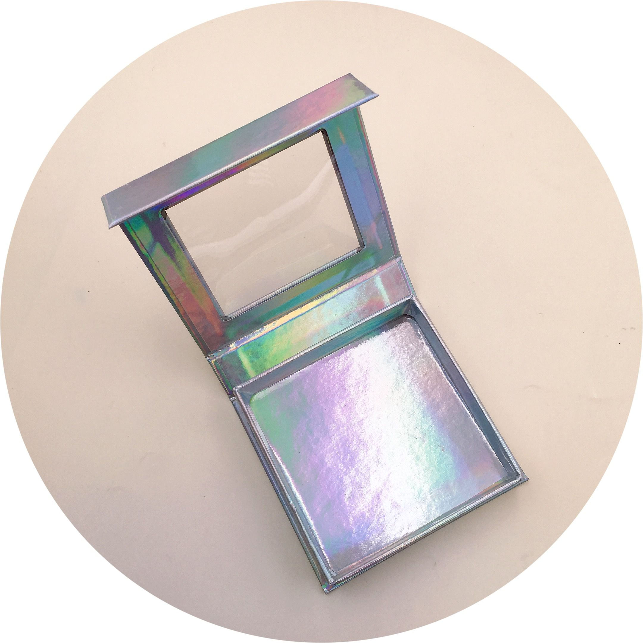 Holographic square box can add your logo cheapeyelashes