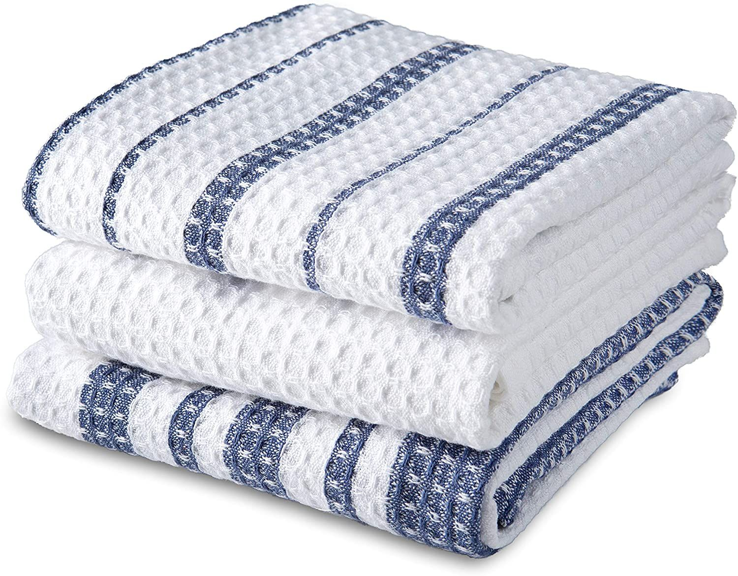 Photo of Sticky Toffee Cotton Waffle Weave Kitchen Dish Towels, 3 Pack Kitchen Towels, 28 x 16 – Blue Stripe Waffle Weave