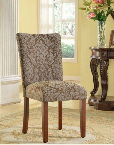 homepop elegant blue and brown damask upholstered fabric parson