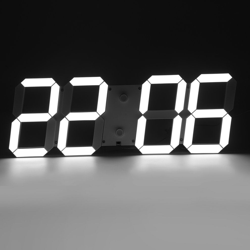 Large 3D Digital White LED Skeleton Wall Clock Time 24//12 Hour Display Modern