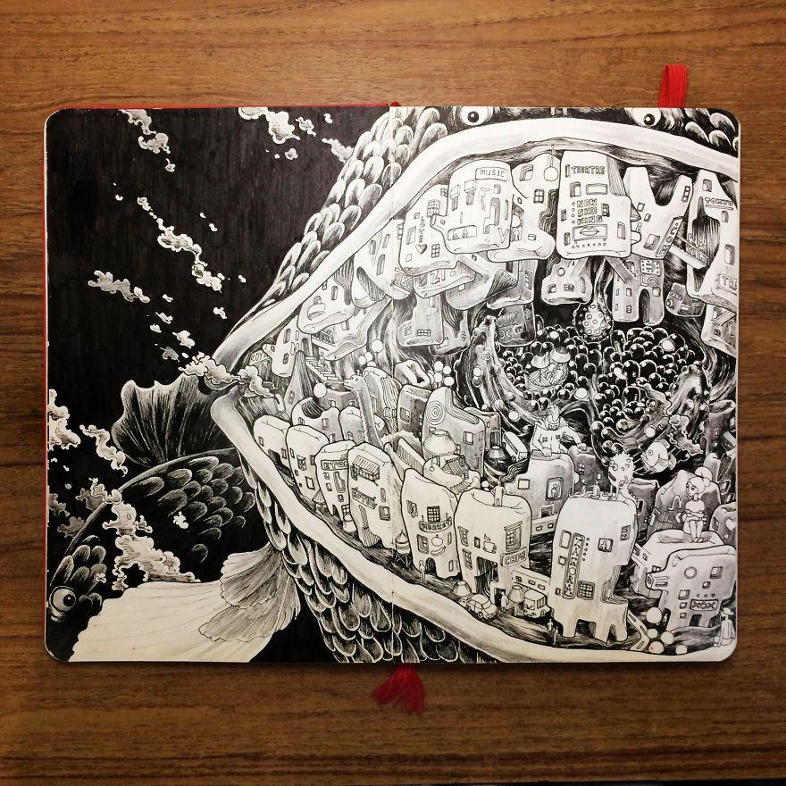les croquis darchitectures surréalistes de Wan Amirul Izat  Dessein de dessin