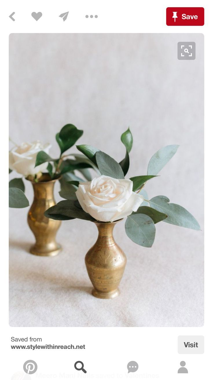 Image result for gold vase white flowers communion pinterest could be used for cocktail tables or interspersed along banquet table length floral arrangements white rose greenery brass bud vase reviewsmspy