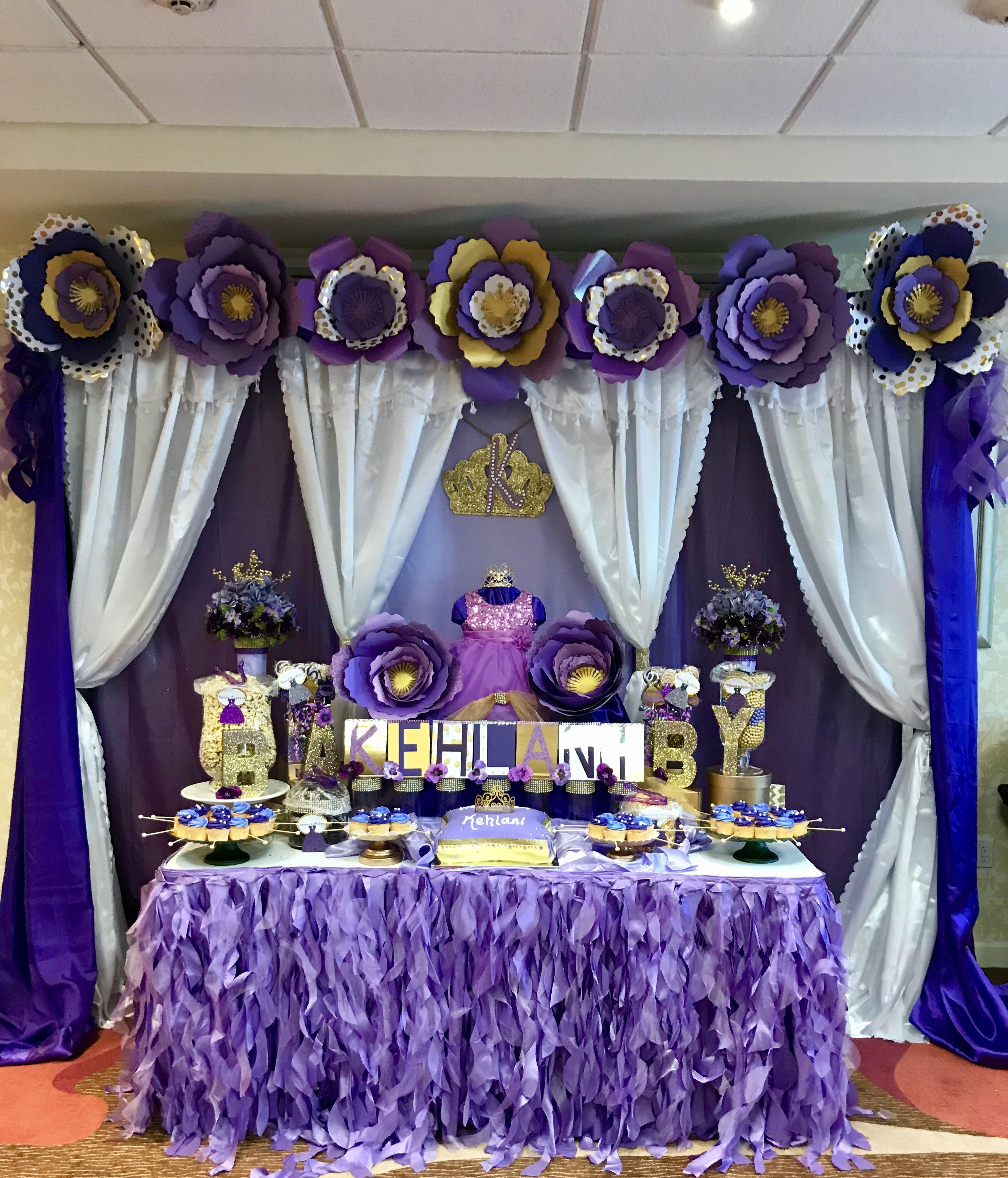 Purple Baby Shower Backdrop Desert Cake Table