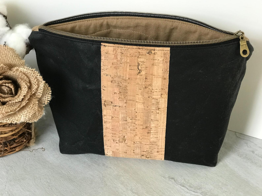 Wax and cork travel pouch