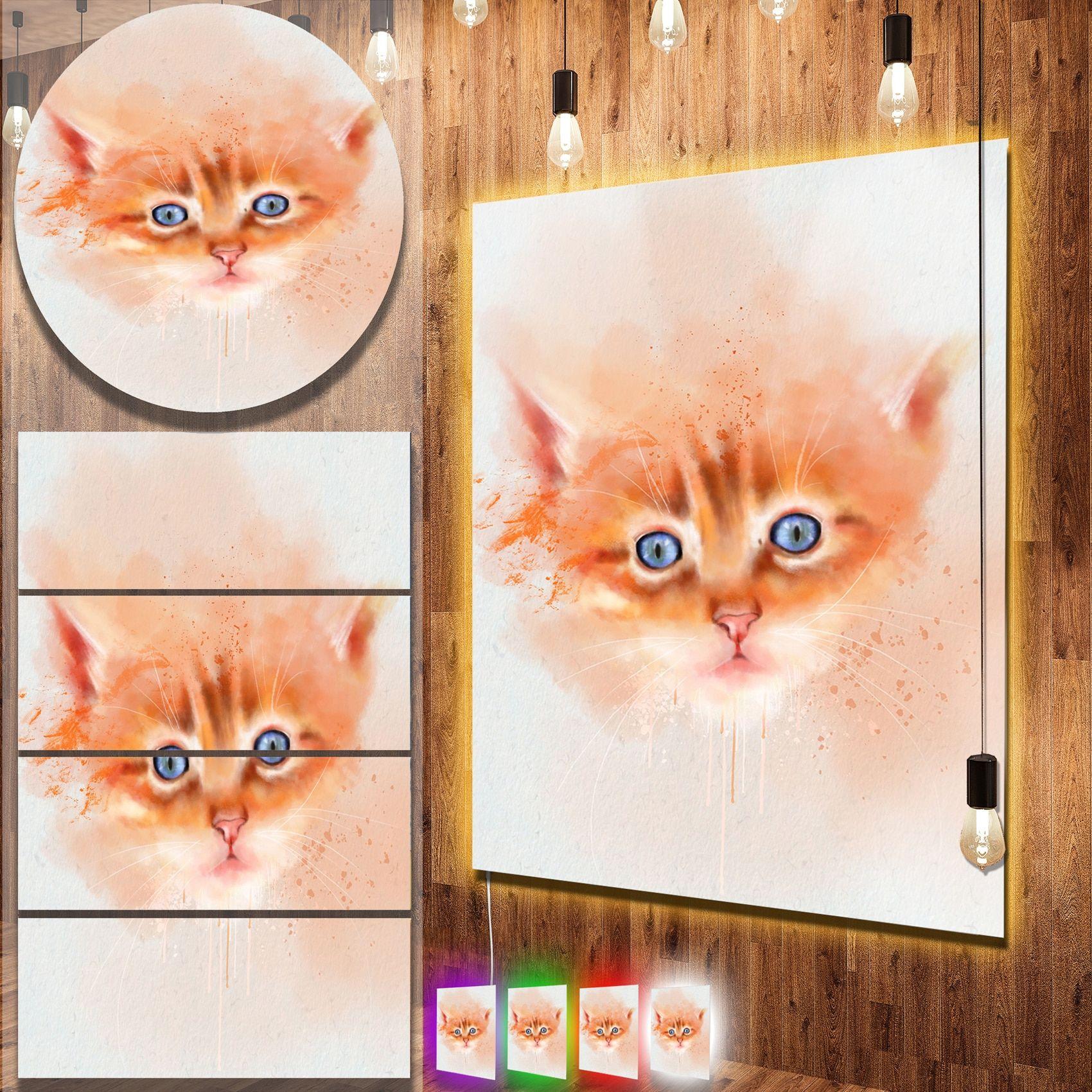 Designart 'Cute Cat Watercolor' Animal Metal Wall Art