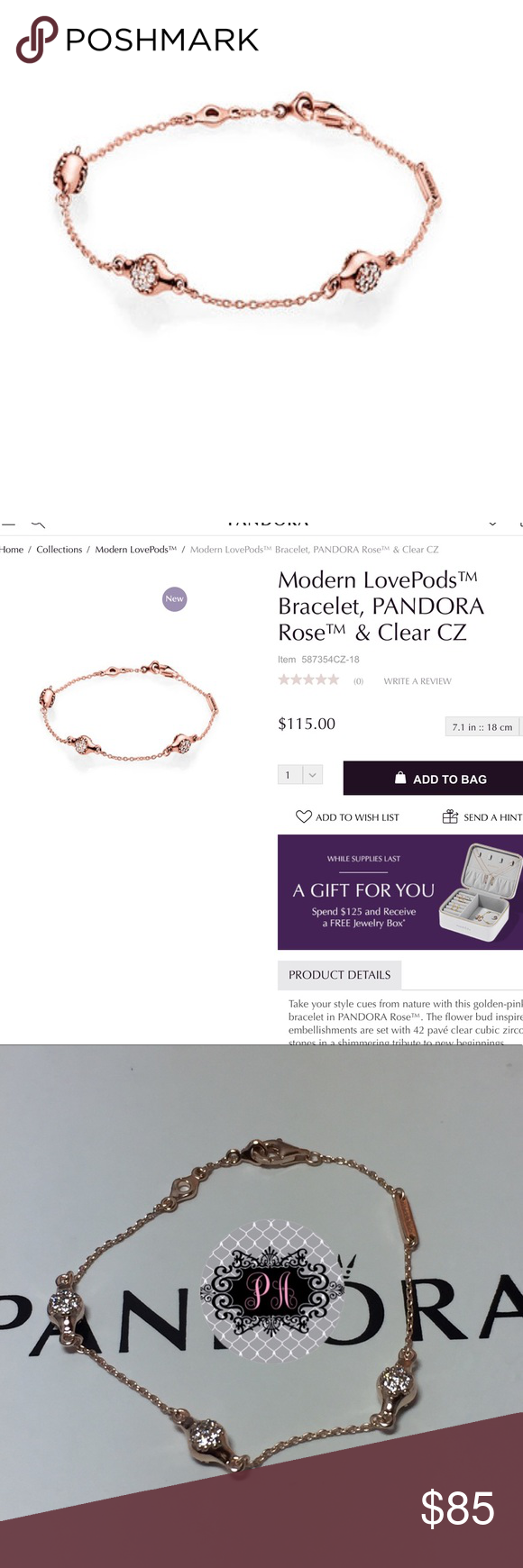 New rose gold love pods bracelet nwt in my posh picks