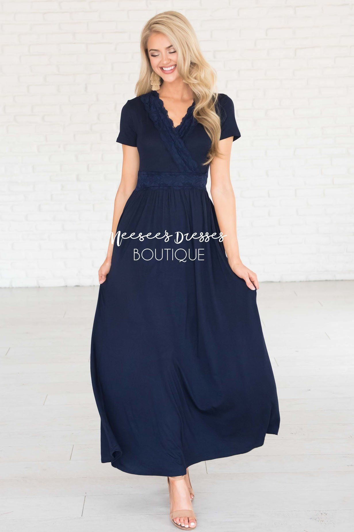 Navy Lace Wrap Maxi Dress Best And Affordable Modest Boutique Cute Modest Dresses And Skirts For Church Neesee Dresses 4th Of July Dresses Modest Dresses [ 1850 x 1231 Pixel ]