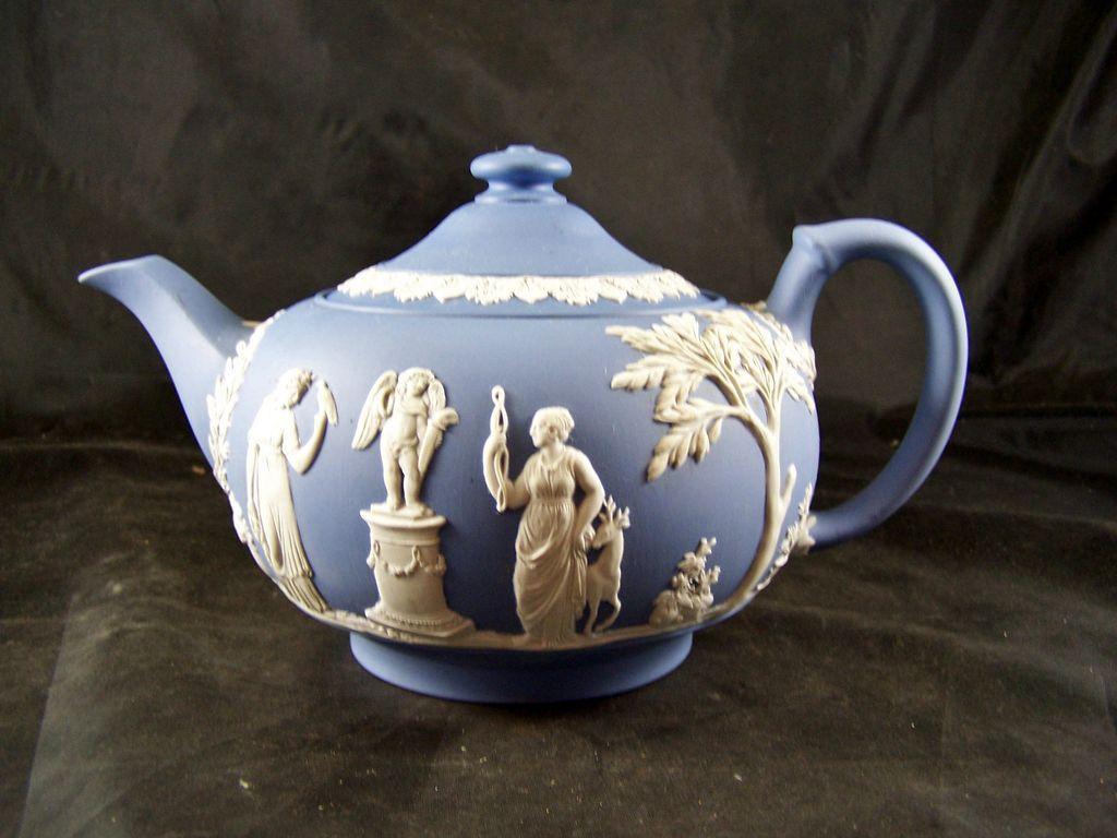 Wedgwood Blue Jasperware Teapot