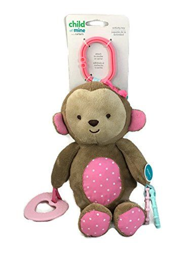 CARTER S Child of Mine Soft Girl MONKEY Plush STROLLER Toy with Teething  Ring and Rattle - fa482eeee0