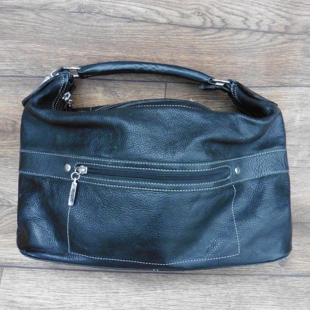 3a5963f77cd9 LAURA ASHLEY BLACK LEATHER SHOULDER BAG HANDBAG HAND BAG SHORT HANDLE STRAP