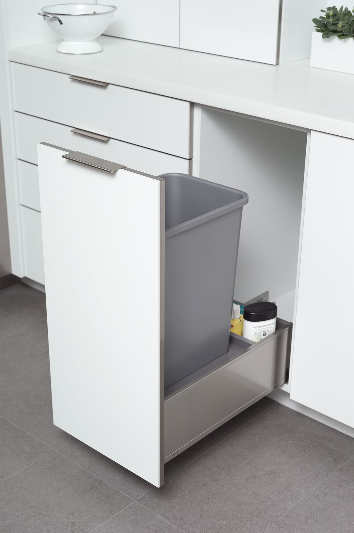 Sink Tray Under Sink Storage Dura Supreme Cabinetry Modern Kitchen Trash Cans Cabinetry Trash Can Cabinet