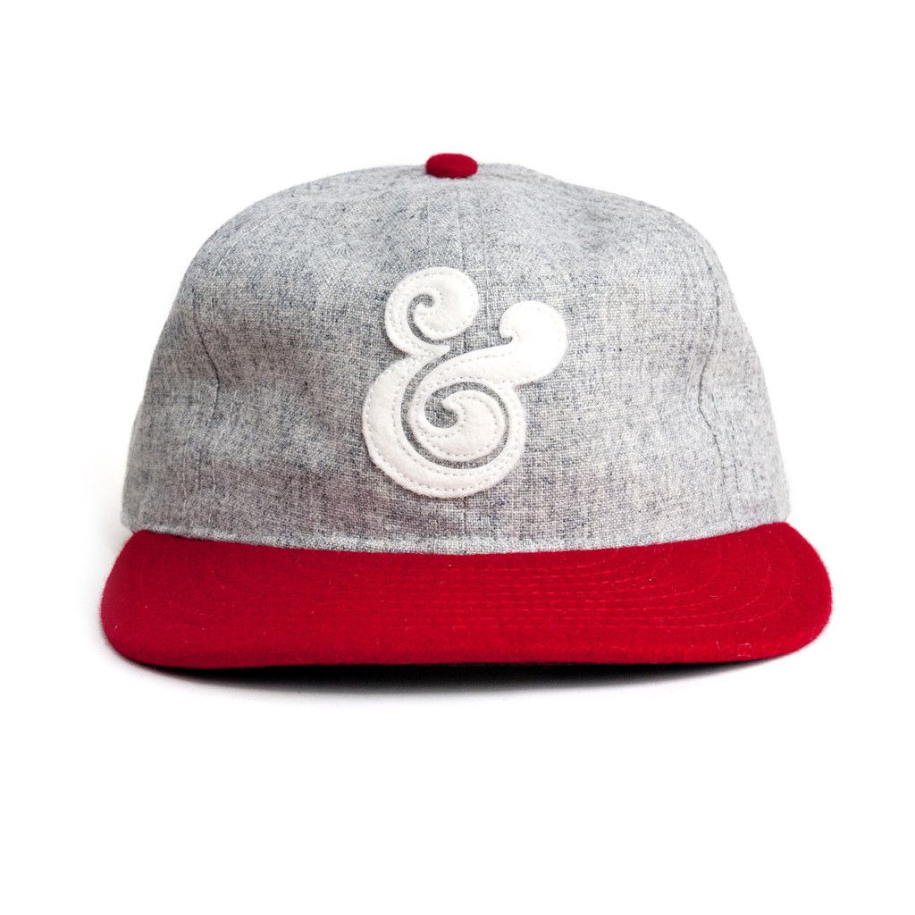 9019c9aaf0897 Vintage style ampersand baseball cap crafted by Ebbets Field Flannels in  Seattle. Made from lightweight wool with adjustable leather strap these hats  are ...
