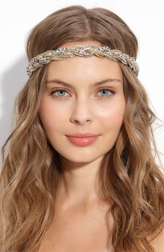 Braut haarband frisur  romantische Haarband Frisuren-glitzerndes Accessoires-Kettenband ...