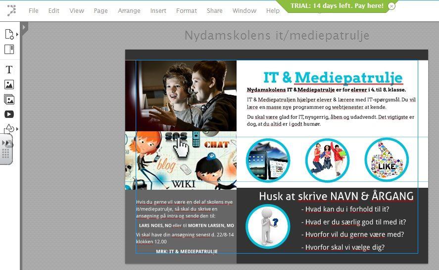 Onlineprogram til flyers og plakater. Mulighed for at arbejde kollaborativt.