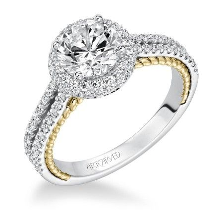 14K Two Tone Halo Diamond Engagement Ring with Yellow Gold Accent