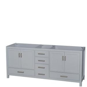 Photo of Wyndham Collection Sheffield 80 in. W x 22 in. D Vanity Cabinet in Gray WCS141480DGYCXSXXMXX – The Home Depot