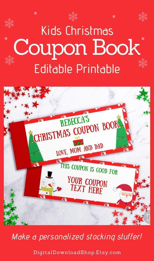kids christmas coupon book template  kids coupon book