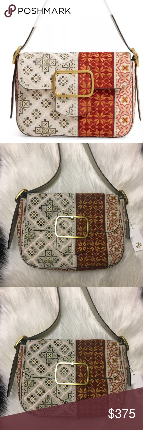 3a10b73112a8 TORY BURCH Sawyer Bohemian Embroidered Suede Bag Lightweight