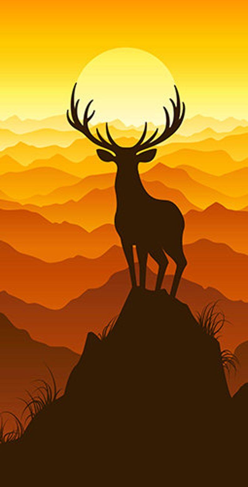 Deer Buck on top of Mountain with sunset Cornhole Board Prints / Wraps   Corn Hole Wraps   Bag Toss   Corn Toss   Custom