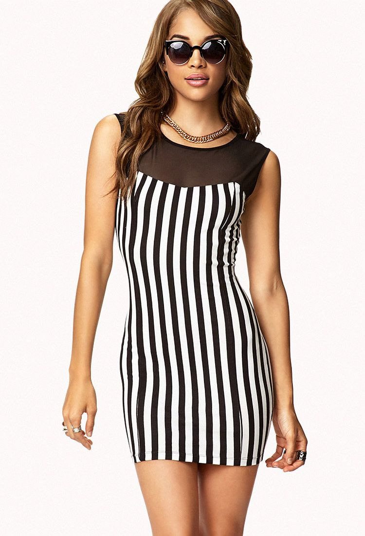 Vertical Striped Bodycon Dress Forever21 2073205788 Striped Bodycon Dress Dresses Bodycon Dress