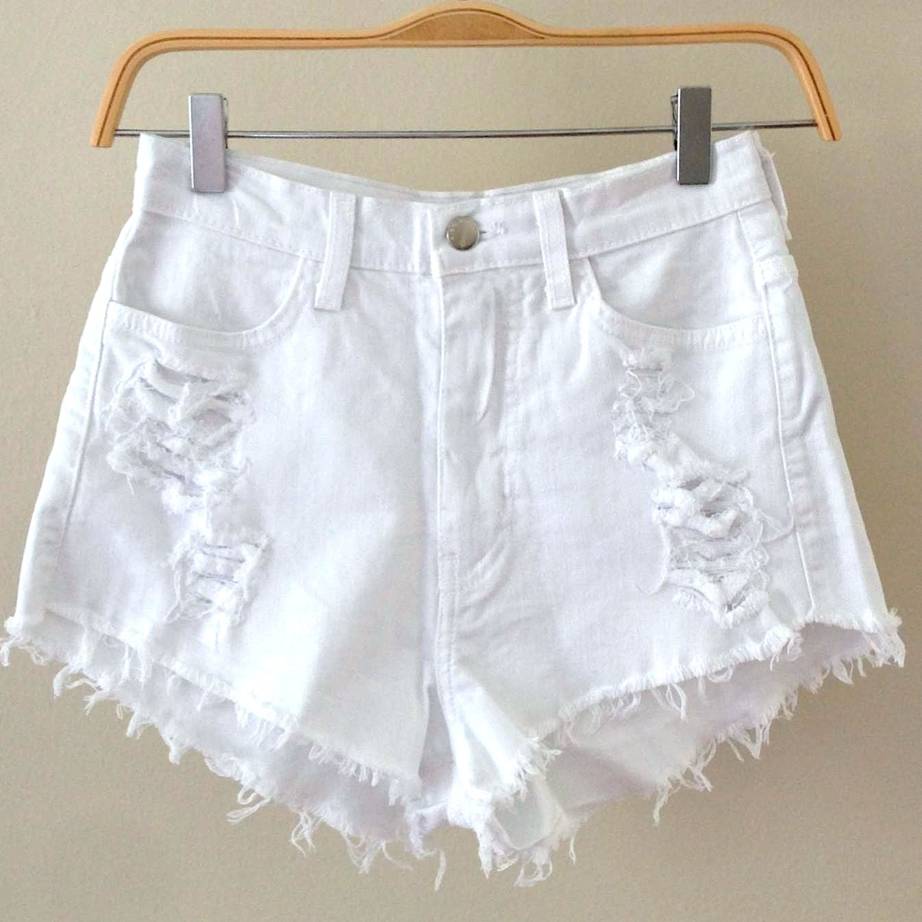 high waisted short | Abby White Distressed High Waisted Shorts ...