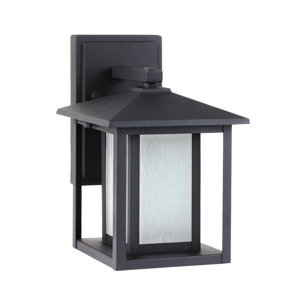 Sea Gull Lighting Hunnington 1 Light Black Outdoor 11 In Wall Lantern Sconce 89029 12 With Images Wall Lantern Wall Mount Lantern Sea Gull Lighting