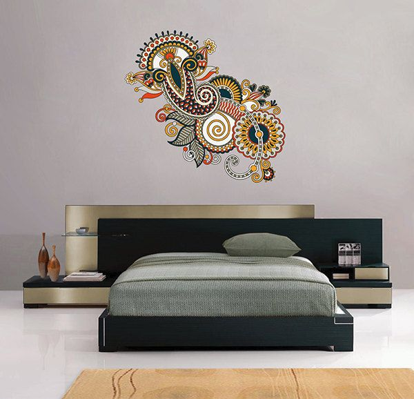 Kcik130 full color wall decal flower decoration indian - Wall pictures for living room india ...