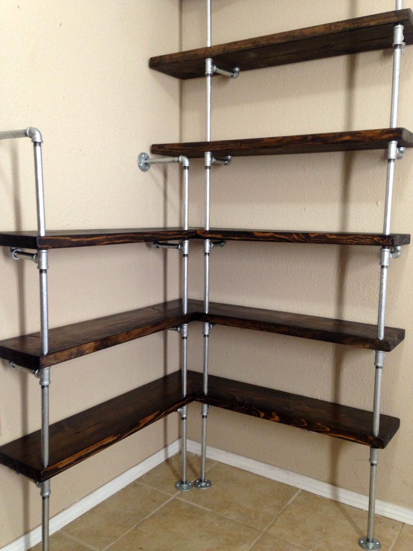 Corner shelving unit - Corner shelf - Pipe Shelving - Industrial ...