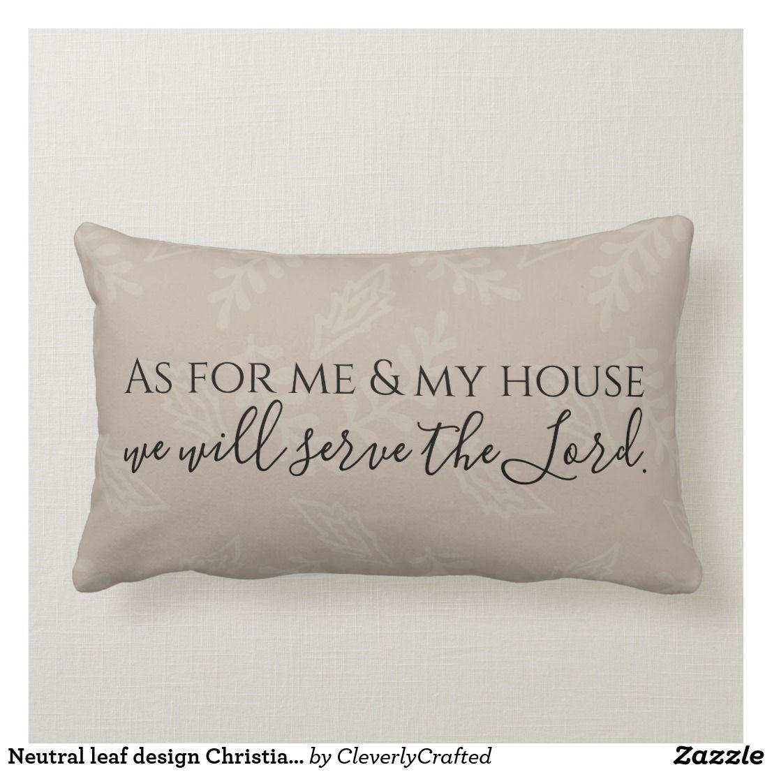 Neutral leaf design Christian pillow