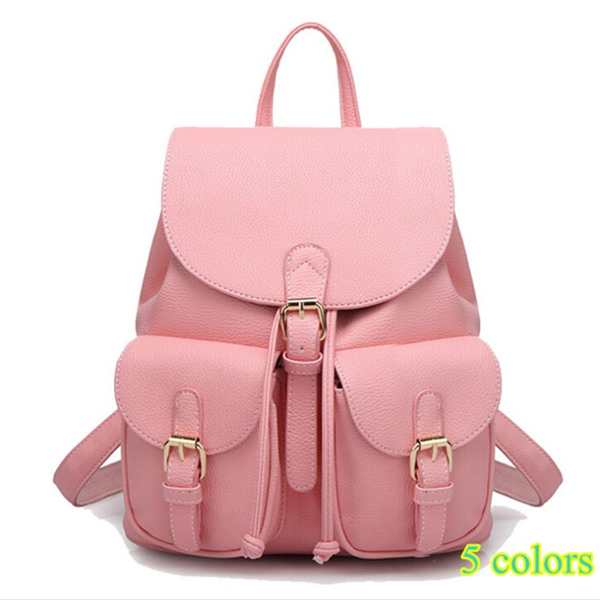 99c9fd596a32 Купить товар 2016 новых мужчин кожаные рюкзаки Bolsas Mochila Feminina большой  школьный сумка твердые конфеты цвет черный розовый бежевый в категории ...