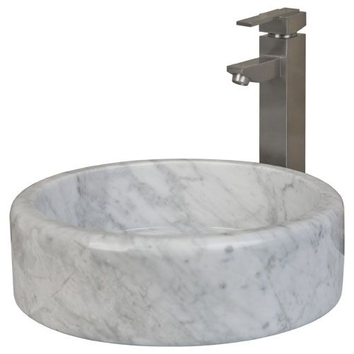Round Flat-Bottom Polished Carrara Marble Vessel Sink Carrara