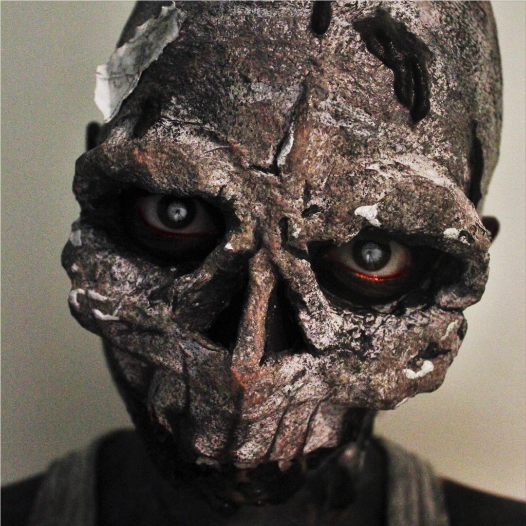 Skull special effects makeup with face prosthetic. For