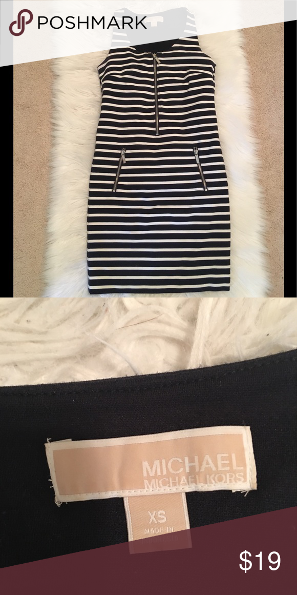 Striped dress Michael Kora day dress. The knot is not