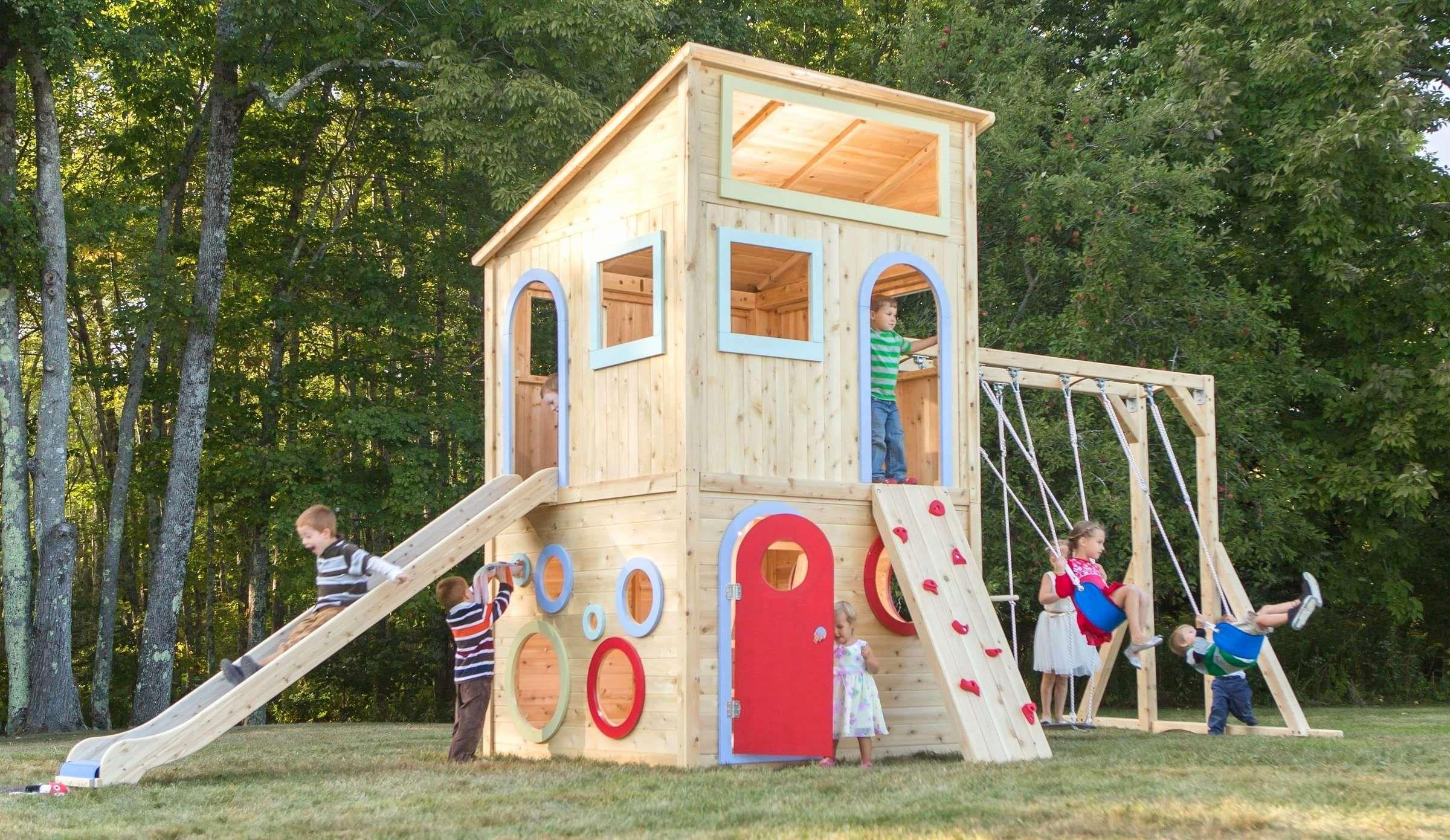 Einzigartig Spielplatz Spielhaus Garten Selber Genial Kinder Bauen Haus Imspielplatz Im Garten Sel Playset Outdoor Playhouse Outdoor Backyard Playset