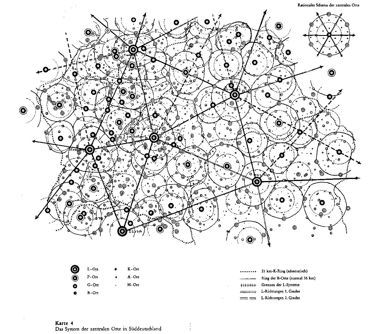 Digram showing application of central place theory to