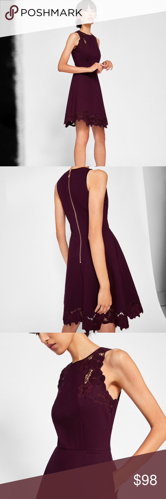 3f1357573c Ted Baker London Skater Dress NWT 68% off Ted Baker London EMMONA  Embroidered Skater Dress in maroon