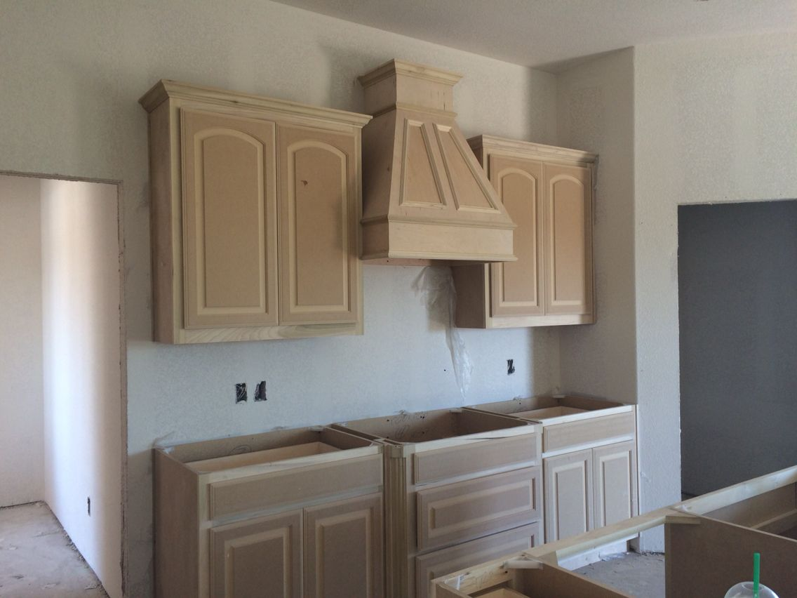 Cabinets Will Be Distressed Cream Bump Out Granite Around