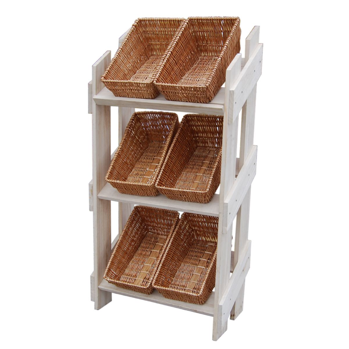 Exhibition Stand Wood : Wooden retail display stand with wicker baskets buy