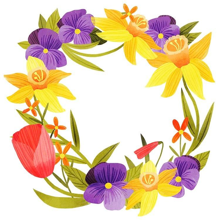 352 vind-ik-leuks, 6 reacties - Steph Fizer Coleman (@stephfizercoleman) op Instagram: 'A floral wreath for another Easter card design '