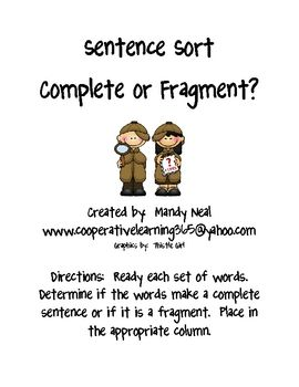Students will sort groups of words to determin if they make a ...