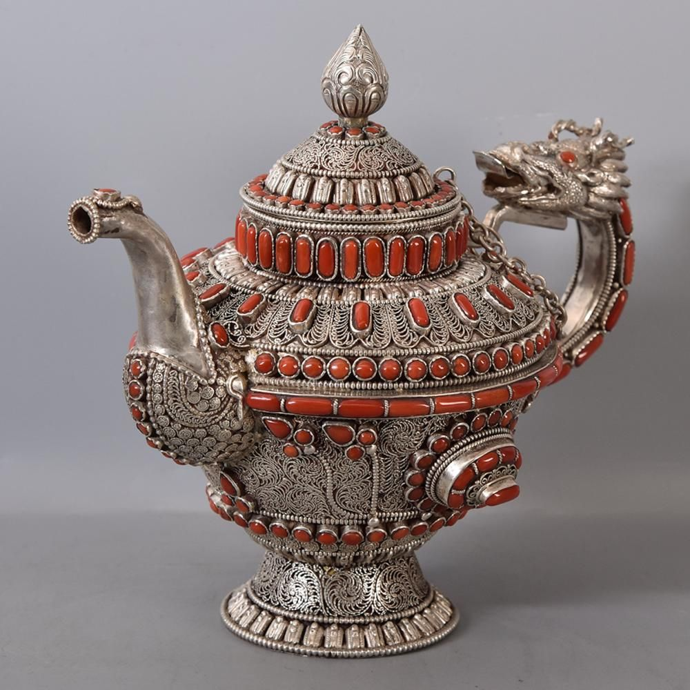 CHINESE SILVER TEA POT WITH CORAL INLAID