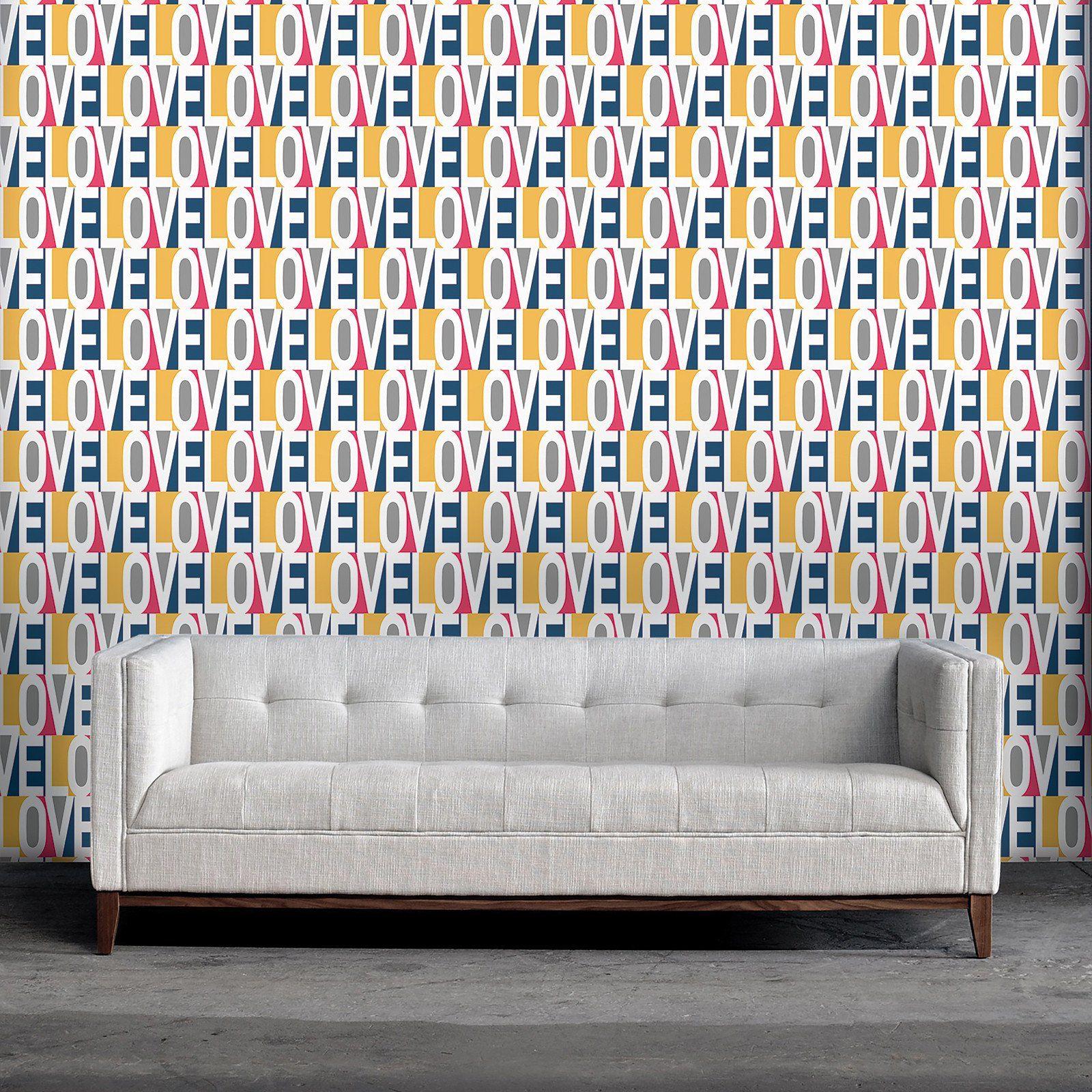 love temporary wallpaper Grey removable wallpaper