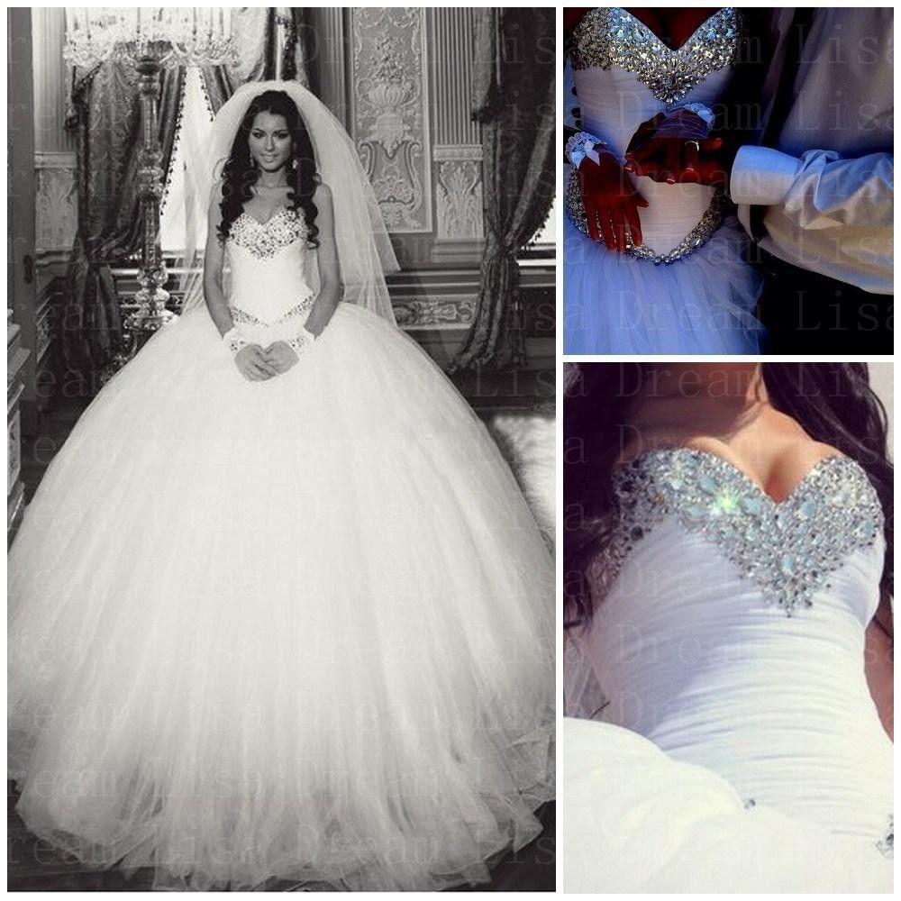 Cristais De luxo De Bling princesa bola Vestido De casamento branco ...