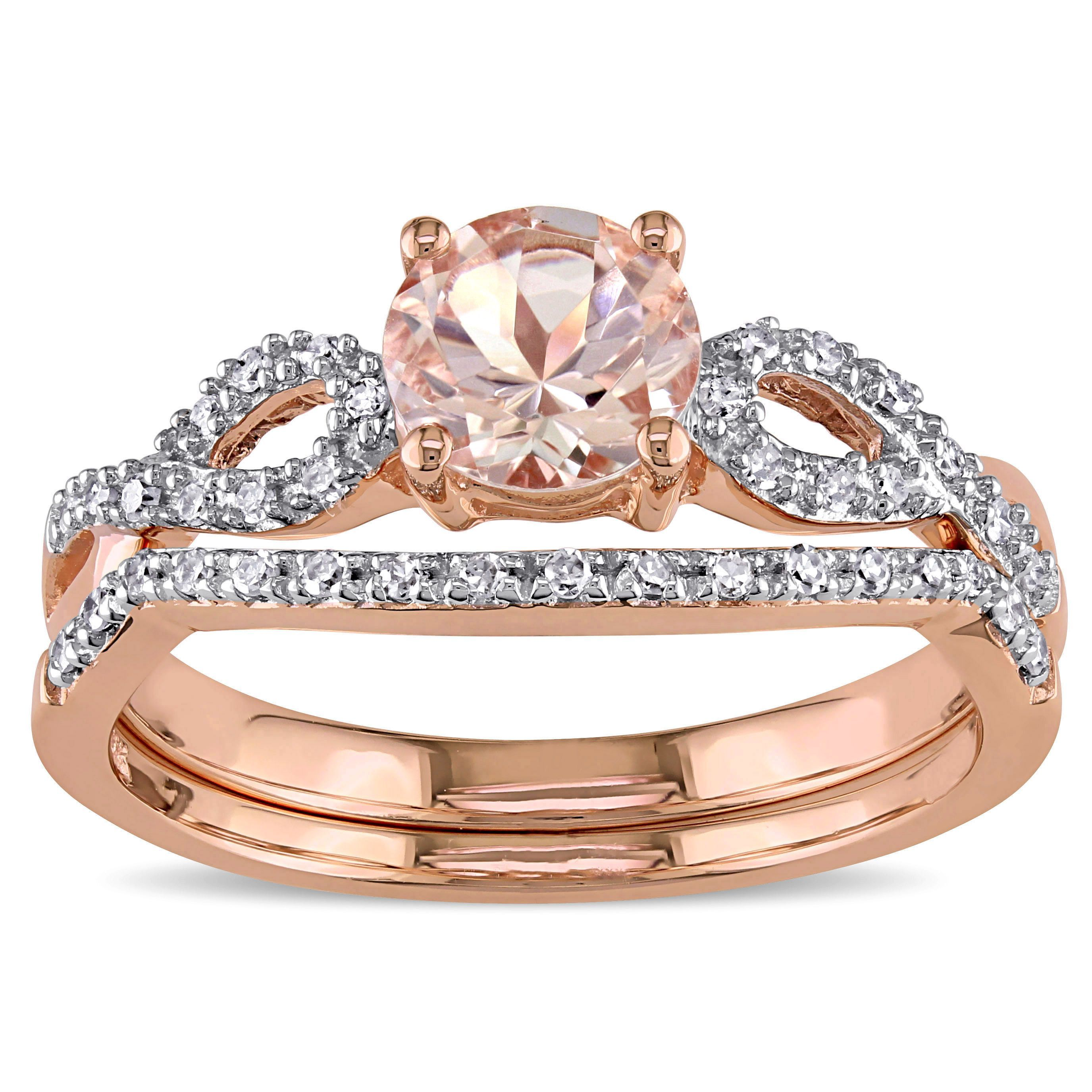 Miadora 10k Rose Gold Morganite and 16ct TDW Diamond Bridal