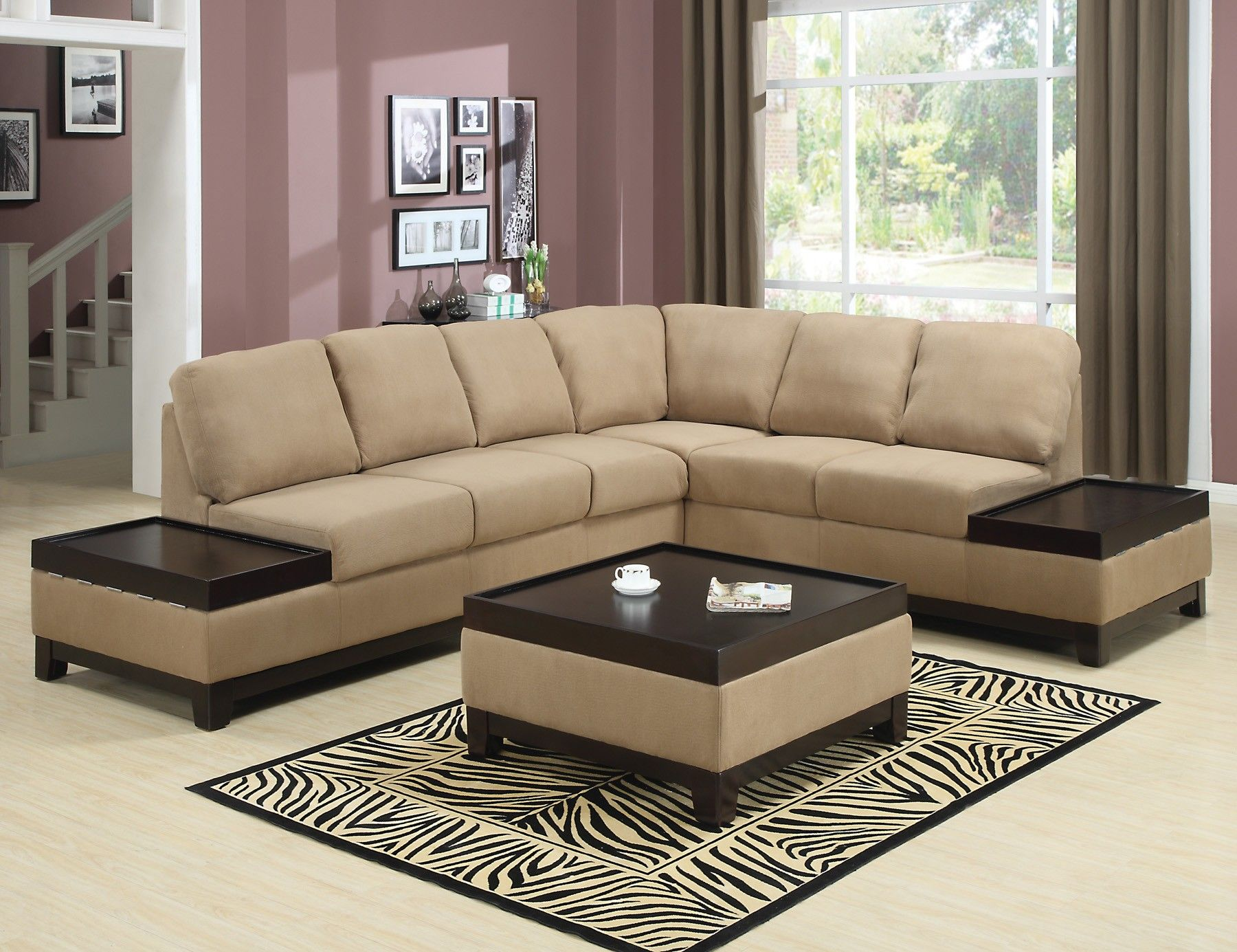Built In Tables Tan Microfiber Sectional W Built In