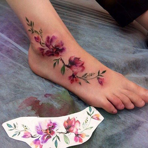 Beautiful Watercolour Foot Tattoos For Women Tattoo Designs