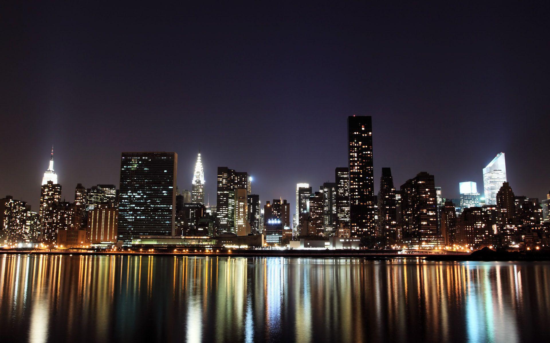 City Night Light Bing Images New York Wallpaper City Wallpaper Skyline