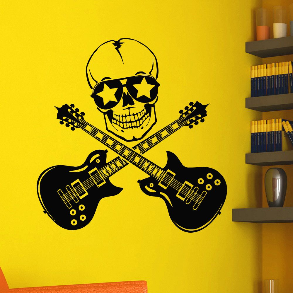 Rock Art Creative Designed Wall Stickers Double Guitars With Skull ...