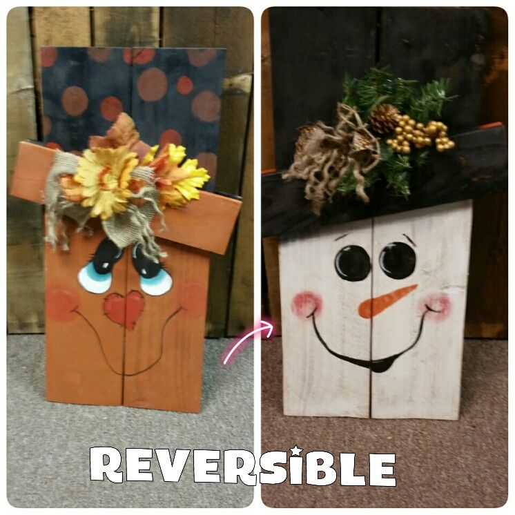 Reversible Fall Winter Scarecrow Handmade By Sbt Scrap Creations