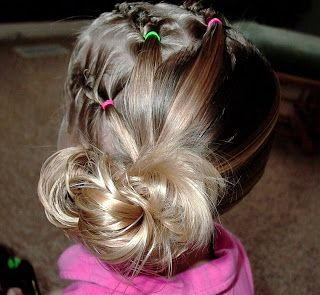 Little Girl's Hairstyles -French Twist Braids with Low Side Bun #lowsidebuns